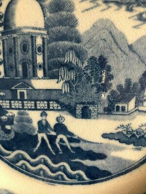 Antique Early 19Thc  Pearl Glazed Blue & White Plate- C1810- Fishermen With Nets