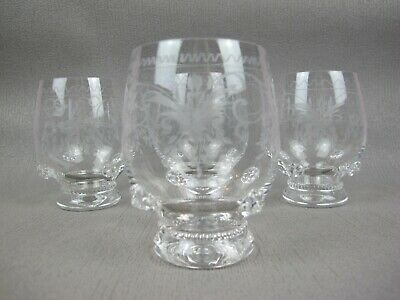 Superb antique 19th century etched crystal glass set of 4 TUMBLERS / GLASSES.