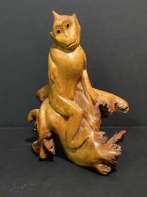 Handcarved Burl Wood Monkey Figure Animal Light Wood Folk Art