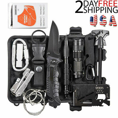 13 In 1 Outdoor Camping Survival Gear Kit Military Tactical EDC Emergency Tools