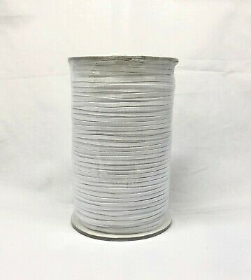Soft Braided Elastic Band for many application 1/8 inch, 200 Yard/ro WHITE
