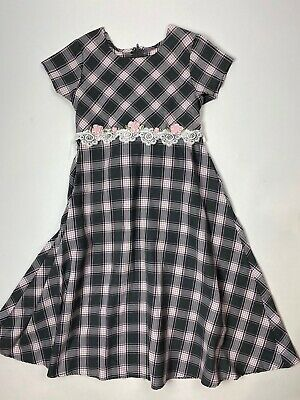 Bonnie Jean Dress 8 10 Girls Modest Church Gray Pink Plaid Midi Long