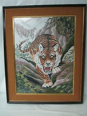 Antique Hand Embroidered Japanese Silk Tiger Needlepoint Art Work Picture