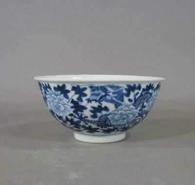 Signed Guangxu Antique Chinese Blue & White Porcelain Bowl, 2 Dragons, Lotus