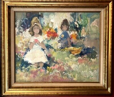 Vintage Painting Pastel Original 1960s Little Girls in Field of Flowers 20x24