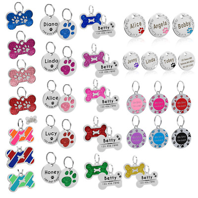 Bone/Paw Custom Dog Tags Personsalised Engraved Puppy Cat Pet Name ID Collar Tag