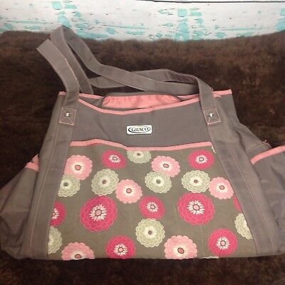 Graco Diaper Bag Floral Baby Gear Tote Taupe Brown Pink Red Nylon Pocket Mod