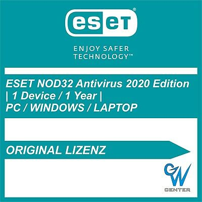 ESET NOD32 Antivirus 2020 1 Gerät 1 Jahr, ESD Lizenz, Download, CD-KEY DE NEU