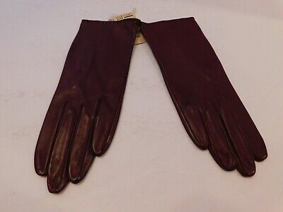 New! Nordstrom Ladies Burgundy Leather Dress Gloves Nylon  Lining Size 7