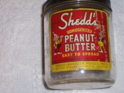 (A58)  Vintage - Shedd's Peanut Butter Glass Jar -  Detroit MI Michigan