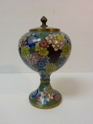 "19th C. Chinese Cloisonne on Brass 8.5"" Lidded Urn Shaped Box"