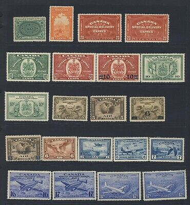 21x Canada Mint S.D. & Air Stamps E1-3-4-5-7-8-9-10-11 C1-2-3-4-5-6-7-9+ GV=$385