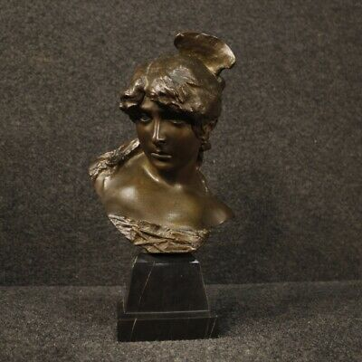 Sculpture Statue Bronze Chiseled French Subject Bust Face Maiden 900