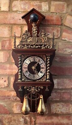 Vintage Dutch Zaanse Zaandam Warmink Wuba Double Weight 8-Day Wall Clock