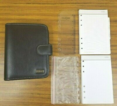 Franklin Covey Day One COMPACT Open Binder Faux Leather 6 Rings Black