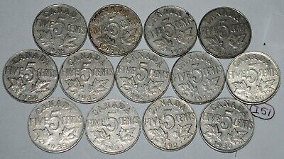 Canada 1922 to 1936 5 Cents George V Canadian Nickels 13 coins Lot #I51