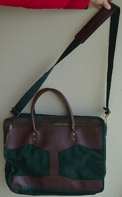 ORVIS Battenkill Green Canvas Brown Leather BRIEFCASE Travel Bag Carry On Tote