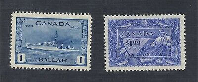 2x Canada MNH $1.00 stamps #262-Destroyer & #302-Fisheries Guide Value = $180.00