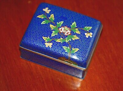 Antique Chinese Cloisonne Blue Enamel Floral  Box Hinged Lid Rare