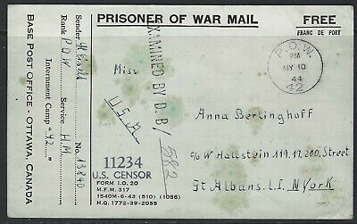 Canada - 1944 Pow Prisoner Of War Camp 42 (Sherbrooke) Postcard Cover To Usa