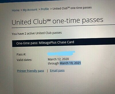 UNITED CLUB PASS- 2 Passes Expires March 19, 2021 E-mail Delivery
