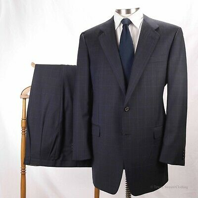 HICKEY FREEMAN Navy Blue Windowpane Check 2-Button Suit Full Canvas 44L