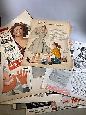 1950's Vintage lot 15 of Pepsi Ginger Ale advertisements Full page d318