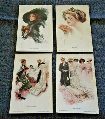 4 Harrison Fisher R & N Nos. 180, 181, 187, 188 Unposted