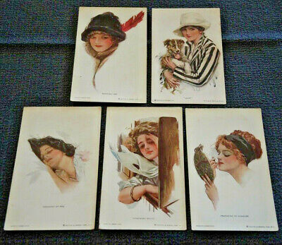 5 Harrison Fisher R & N Nos. 252, 255, 256, 258, 763  Unposted