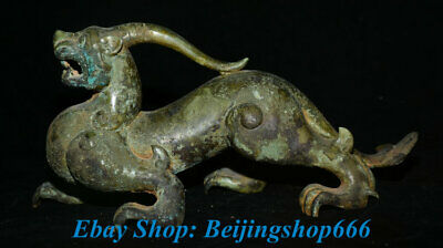 "11"" Old Chinese dynasty Palace Bronze Ware Animal Pixiu Beast Unicorn Sculpture"