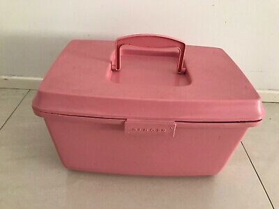 Vintage Pink SINGER SEWING CASE BASKET CRAFT BOX With Contents