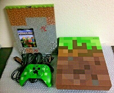 USED Xbox One Console System S 1TB Minecraft Limited Edition w/Box Slight Damage