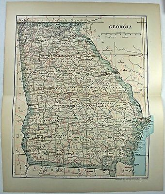 Original 1902 Dated Map of Georgia by Dodd Mead & Company. Antique