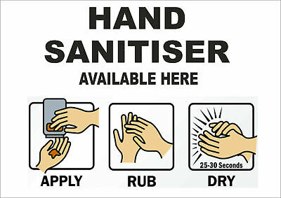 HAND SANITISER AVAILABLE HERE hygiene germs washroom toilet sign or sticker