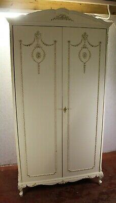 1960's Off White Painted 2 Door Louis XV style Wardrobe with Gilt detail