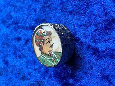 Vintage Hand Painted Maharaja on Bone Silver Pill Box