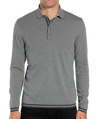 Ted Baker London Men's Long Sleeve Longfiz Striped Ribstart Polo Shirt Charcoal