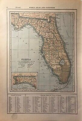 1908 Florida & Connecticut Maps, Named Railroads, Counties, Towns & Much More