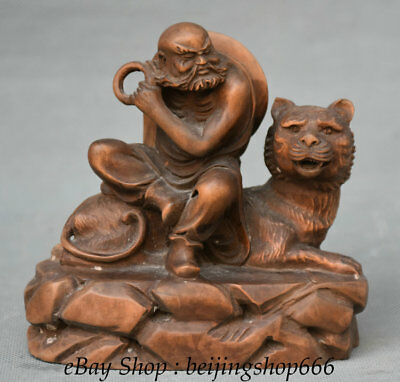 """4.8"""" Old Chinese Boxwood Dynasty Carving arhat Luohan Monk Buddha Tiger Statue"""