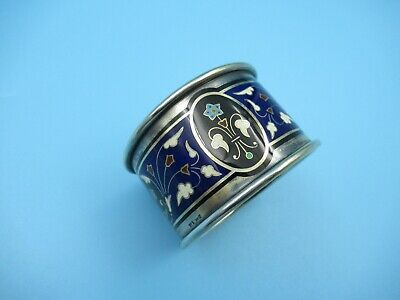 Antique David Andersen Norway 925 Sterling Silver Enamel Floral Napkin Ring 1891