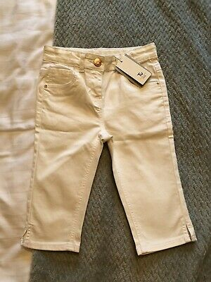 Girls White cropped Jeans Age 8 BNWT