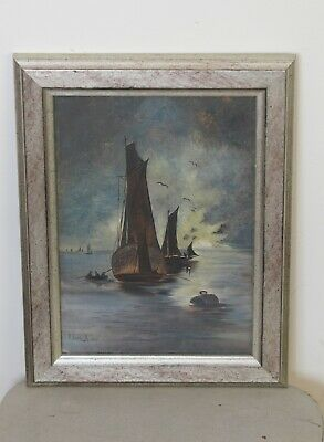 Vintage  Painting Oil On Board Late 19 Th Century Antiques