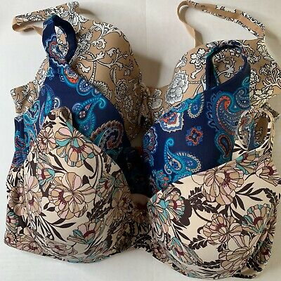 Soma lot of 3 Embraceable Full Coverage floral tan black white blue 40DD