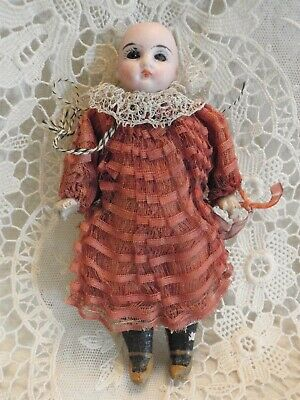 """Tiny 5""""  Bisque Head Mignonette Fixed Blue Eyes, Mache Body, Closed Mouth, As Is"""