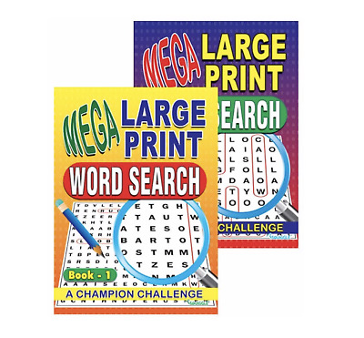 2 X A4 Mega Large Print Word Search Puzzle Book Books 258 Puzzles A4 Pages 3and4