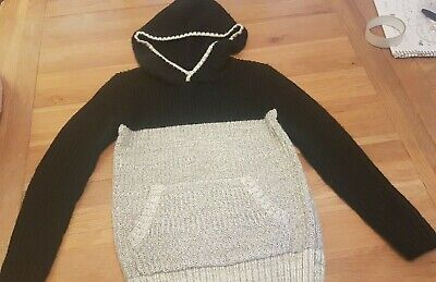 boys knitted black and grey hoody jumper age 8 years from matalan