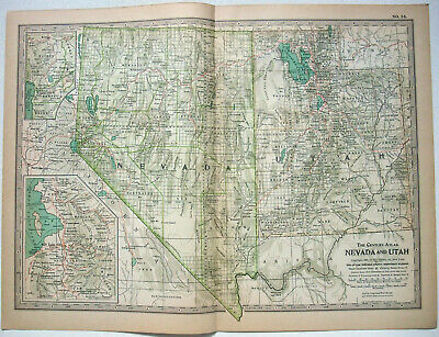 Original 1897 Map of Nevada & Utah by The Century Company. Original Antique Map