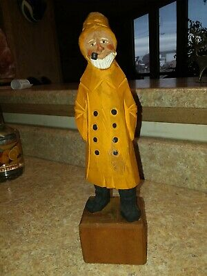 """Vintage Wood Carved Fisherman 12"""" Wooden Fishing Statue GUC Hand Carved"""