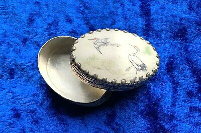 Vintage Antique Hand Painted Two Crane Silver Pill Box with Mirror