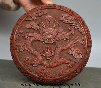 19CM Old Chinese Red landscape Dynasty Dragon Loong Jewelry Jewellery Box case
